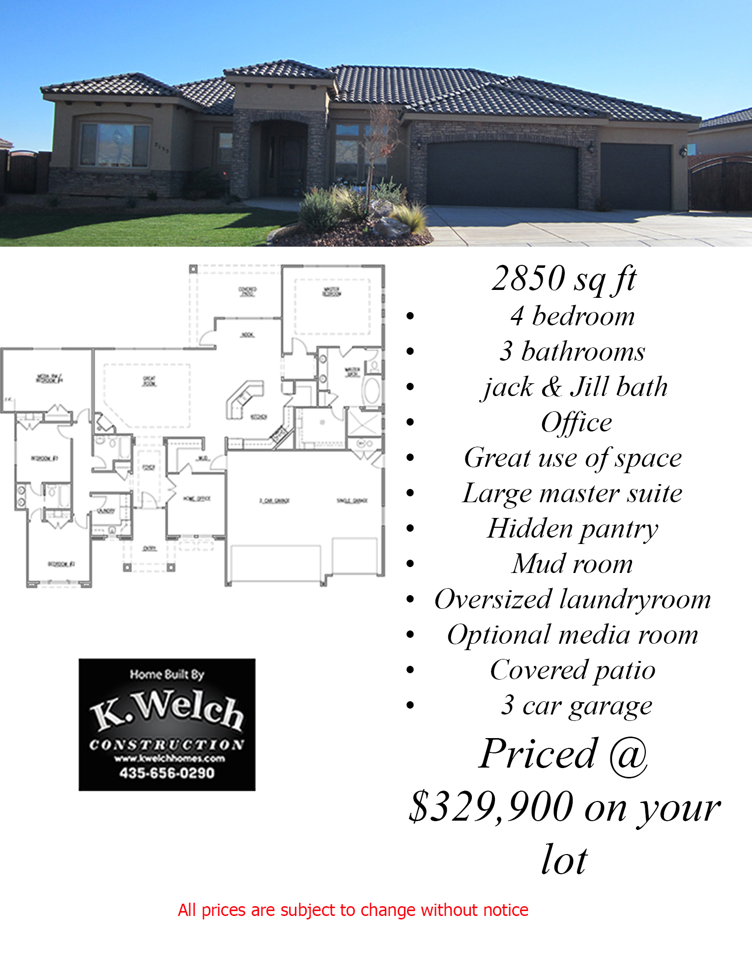 2500 3000 sq ft k welch homes for How much is 5000 square feet