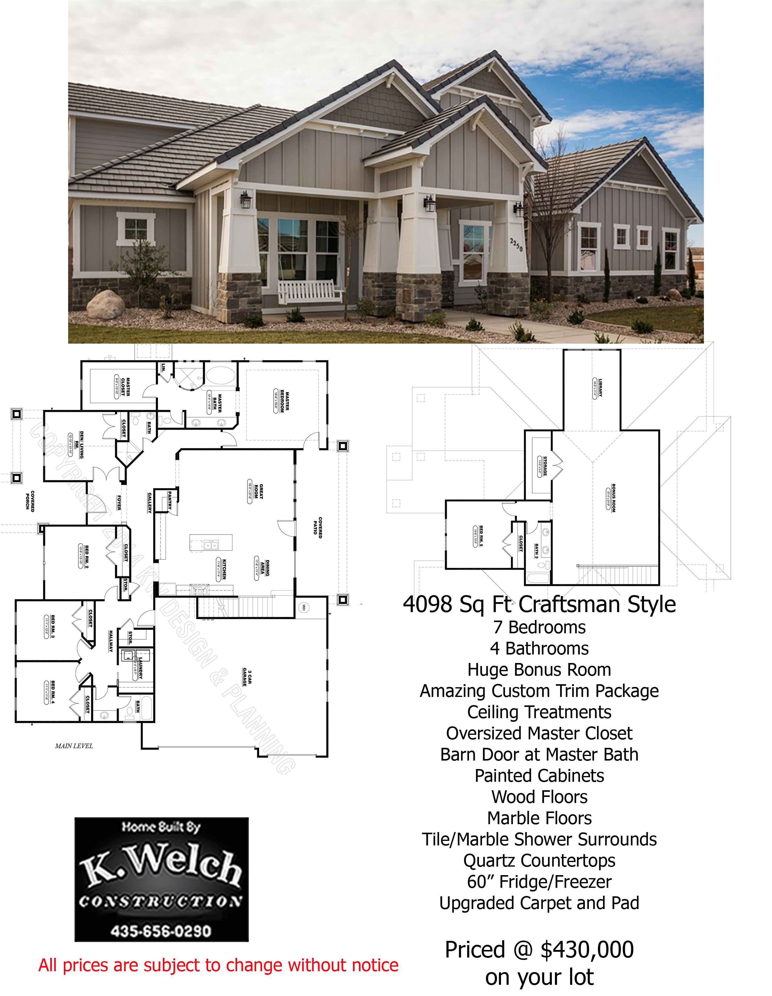 3000 4500 sq ft k welch homes for 3000 square foot homes